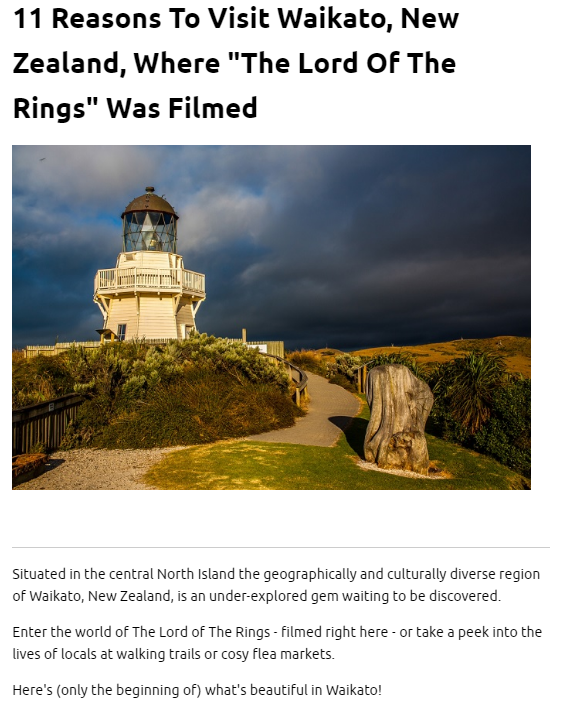 PUBLISHED ALREADY: Waikato, New Zealand – Lord of the Rings